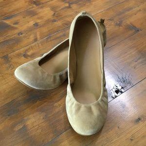 J.Crew Anya nude suede ballet flats